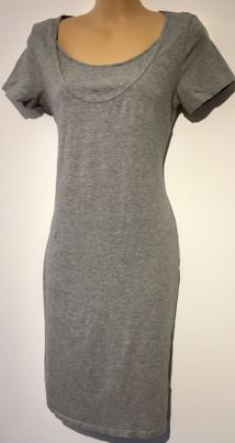 H&M MAMA GREY JERSEY FITTED NURSING DRESS SIZE M 12